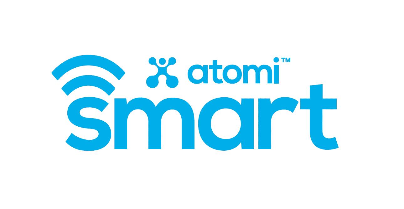 atomi smart logo white background
