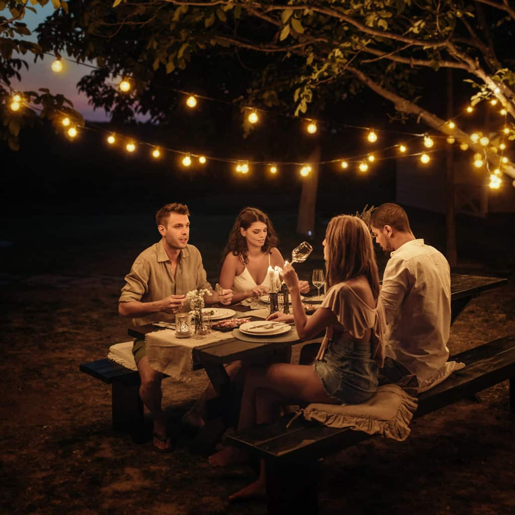 smart string lights dinner