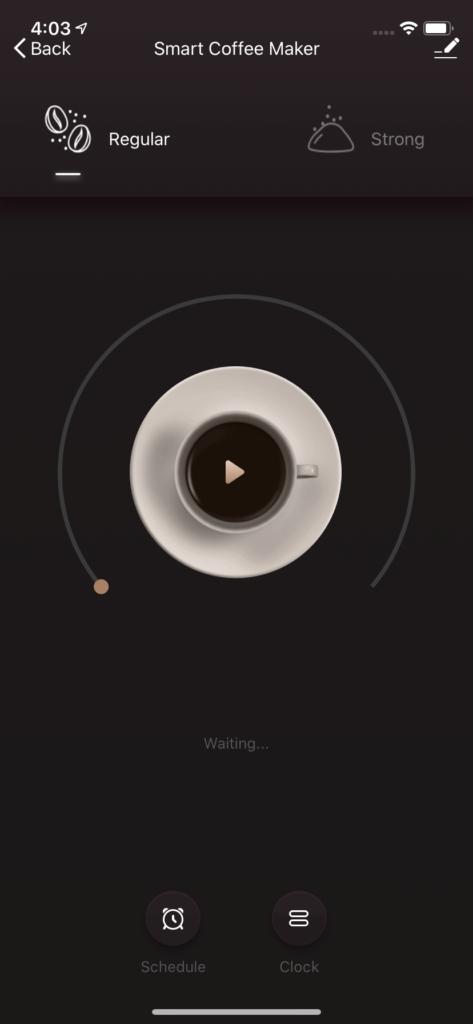 Coffee Maker Main Screen