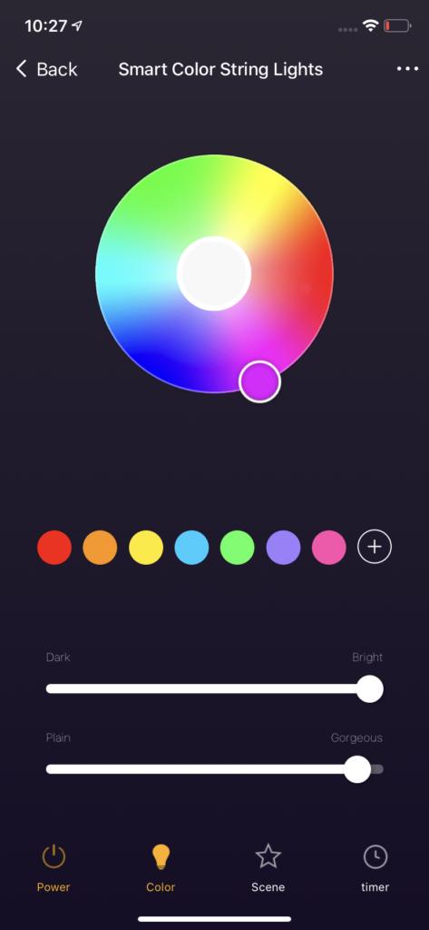 String Lights Color Mode UI